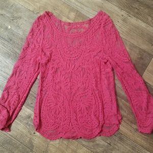 Tops - Sheer pink lace blouse
